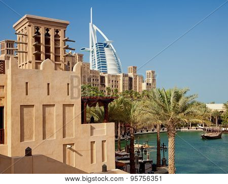Burj Al Arab As Seen From Madinat Jumeirah Of Dubai On A Clear Sunny Day