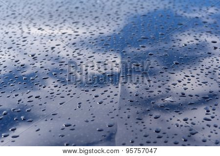 Texture Blue Car Hood With Rain Drops