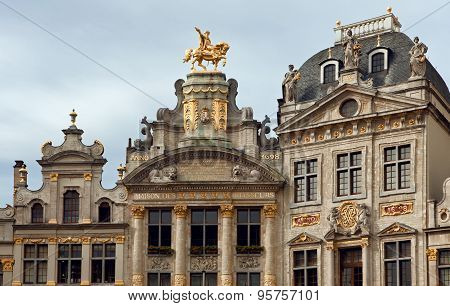 Maison Des Brasseurs And Anno Buildings In Grand Place Of Brussels