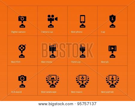 Victory icons set on orange background.