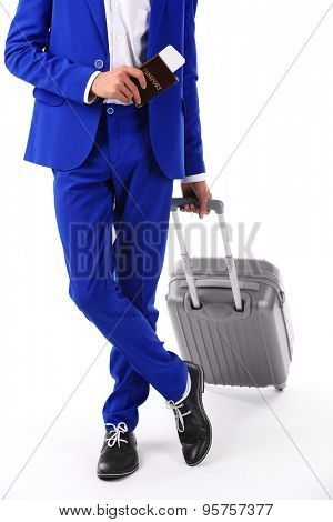 Business man with suitcase isolated on white