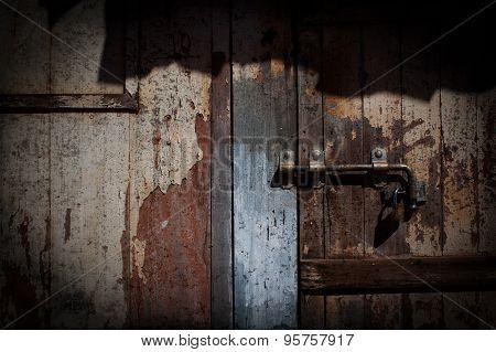 Old wooden door locked - grunge