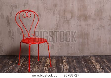 Red Metal Chair In Nterior Room
