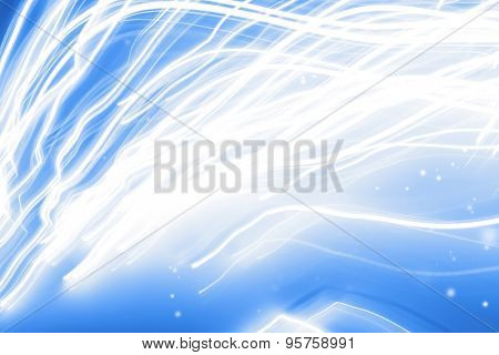White swirly lines on blue background