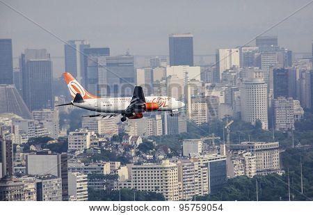 Gol Aircraft Landing In Santos Dumont Airpot In Rio De Janeiro