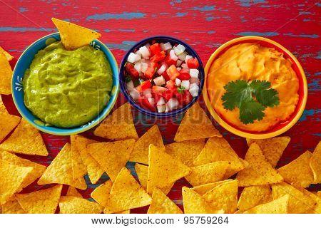 Mexican food nachos guacamole pico de gallo and dipping cheddar cheese