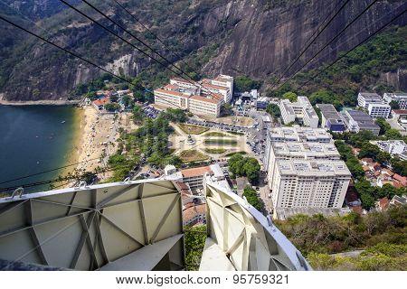 Overhead Cable Car Over Sugarloaf Mountain, Rio De Janeiro, Brazil.
