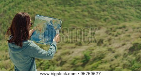 Traveler Woman With A Map Outdoor