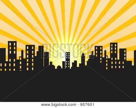 Sunrise, Illustration, Strips, Buildings, Scene, Grunge, Abstract
