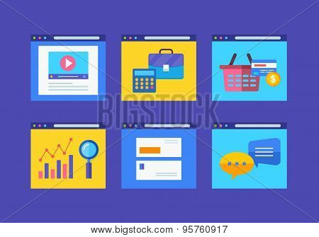 Modern Flat Icons Vector Collection In Simple Window Browser Of Web Business Communication And Finan