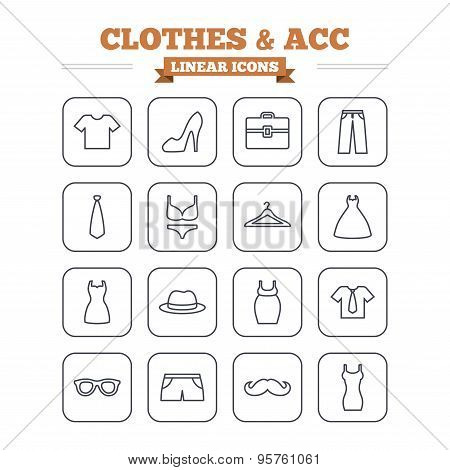 Clothes and accessories linear icons set. Thin outline signs. Vector