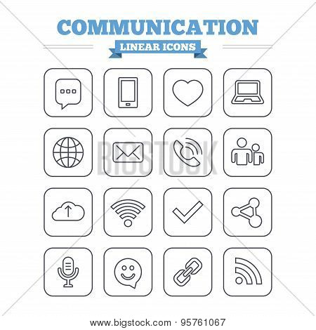 Communication linear icons set. Thin outline signs. Vector