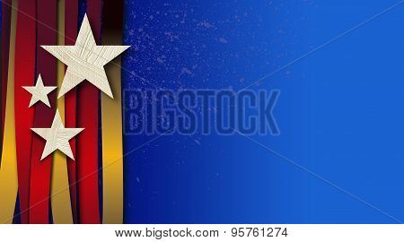 American Stars and Stripes with Red and Gold Ribbons