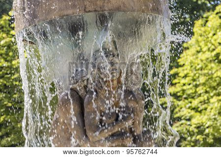 fountain Adam and eve in paradise in Bad Nauheim