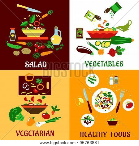 Healthy salad, vegetables and vegetarian food