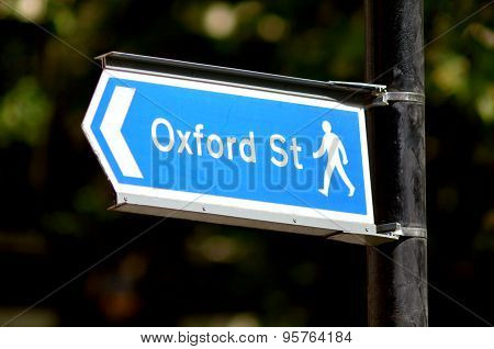 Oxford Street Sign In London England Uk