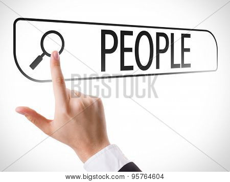 People written in search bar on virtual screen