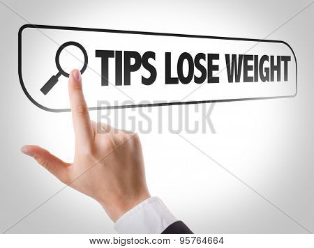 Tips Lose Weight written in search bar on virtual screen