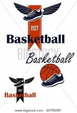 Basketball ball and winged sneakers symbol