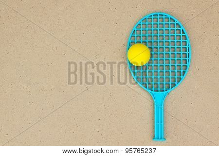 One Tennis Racket And Ball On The Table. Ping Pong