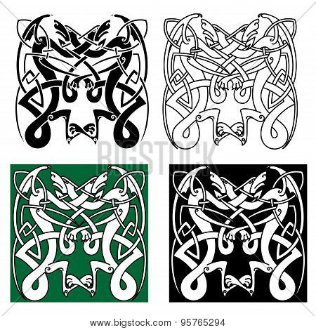 Tribal dragons with celtic knot pattern