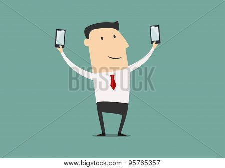Businessman makes two selfie shot
