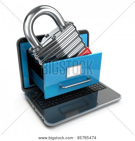 Data security concept. Laptop, archive and lock. 3d