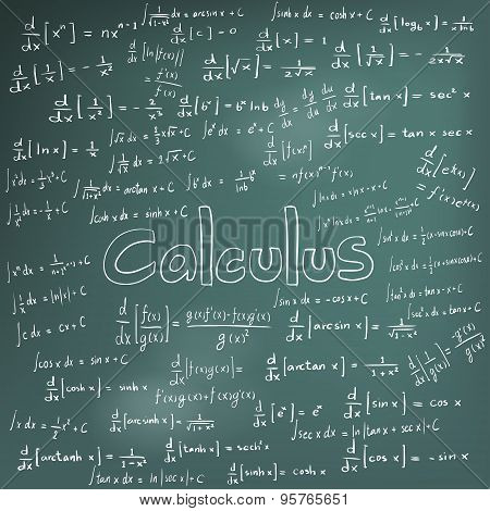Calculus Law Theory And Mathematical Formula Equation, Doodle Handwriting Icon In Blackboard Backgro