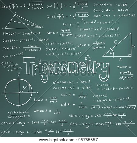 Trigonometry Law Theory And Mathematical Formula Equation, Doodle Handwriting Icon In Blackboard Bac