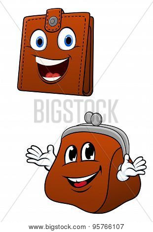 Brown leather wallet and purse characters