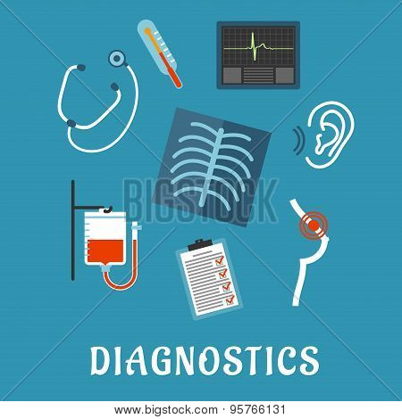 Diagnostics and medical test flat icons