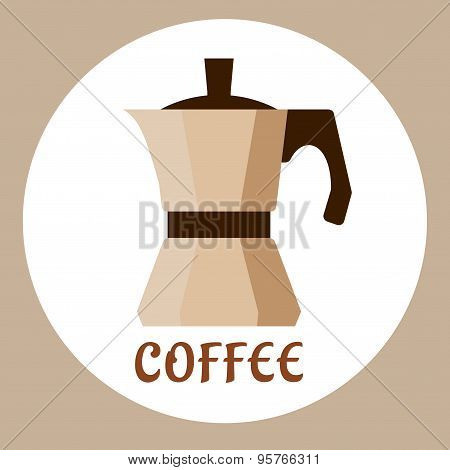 Flat beige coffee maker icon