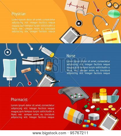 Physicians Such As Doctor, Nurse, And Pharmacist And Health Care Icon Tools Infographic Banner Templ