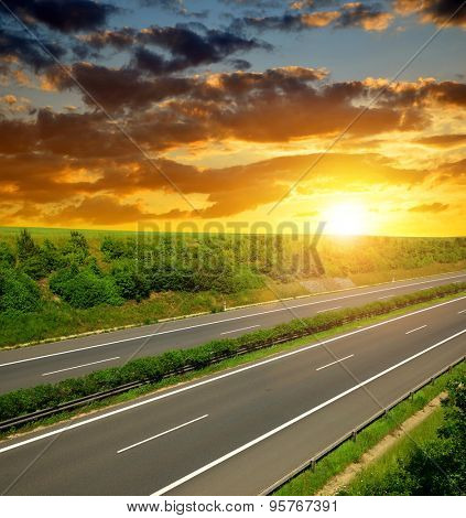 Empty Highway in the sunset