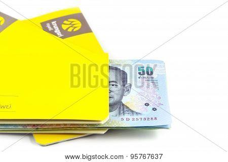 Chonburi, THAILAND - November 26, 2014: Saving Account Passbook with Thai money