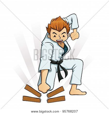 Young Boy Breaking Boards In Karate Uniform