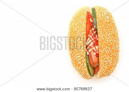 Top View Hot Dog With Cucumber On A White Background