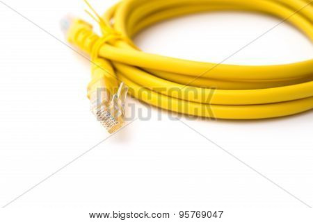 Yellow Rj45 Computer Network Connecting Cable On White With Clipping Path