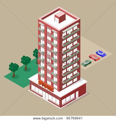 Isometric multistory building with store and balconies.