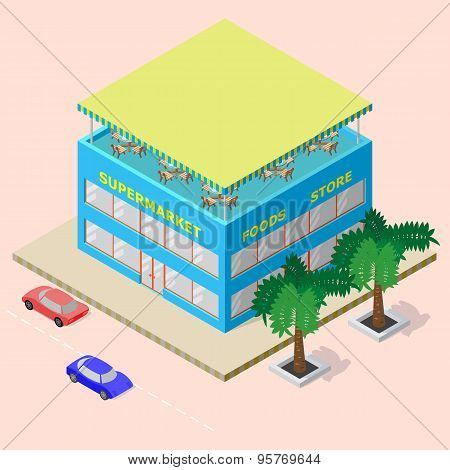 Isometric shopping center with supermarket foods store and rooftop cafe