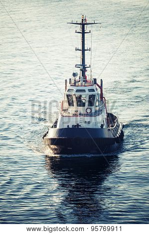 Tug Boat Underway, Front View, Tonal Correction