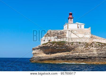 Madonetta Lighthouse, Bonifacio Port, Corsica, France