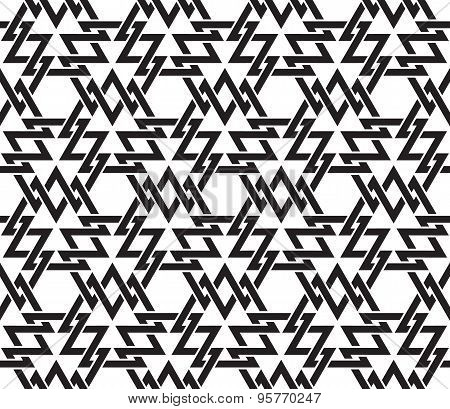 Seamless pattern of intersecting geometric shapes of lines