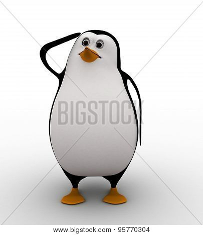 3D Penguin Itching Head And Thinking Concept
