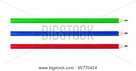 Green Blue And Red Pencil Isolated On White Background