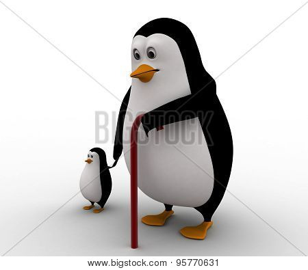 3D Old Penguin With Baby Penguin Concept