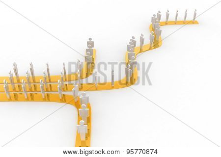 3D Man Going On Three Different Path Concept