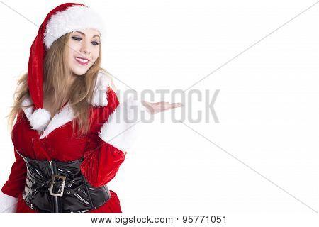 Young Female Santa Presenting