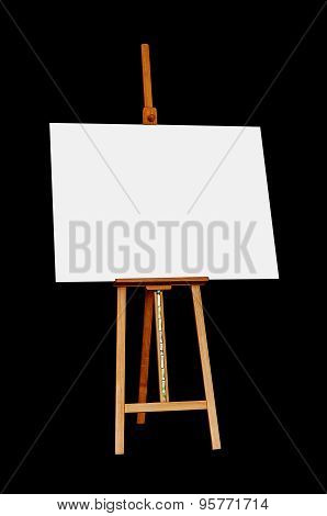 Wooden Easel With Blank Painting Canvas Isolated On Black Background