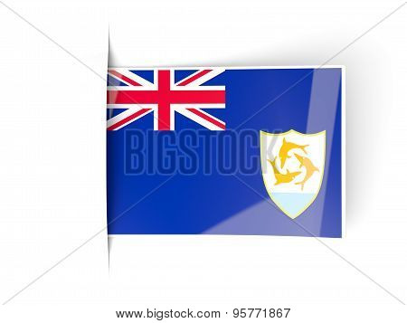 Square Label With Flag Of Anguilla